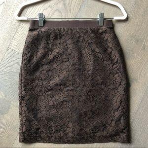 Ann Taylor LOFT brown lace pencil skirt